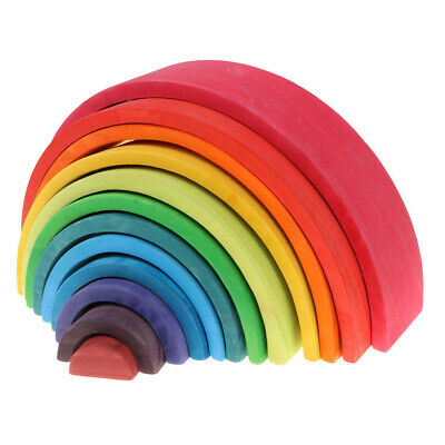 12Pcs Wooden Rainbow Stacking Blocks Game for Baby Toddler Montessori Toy