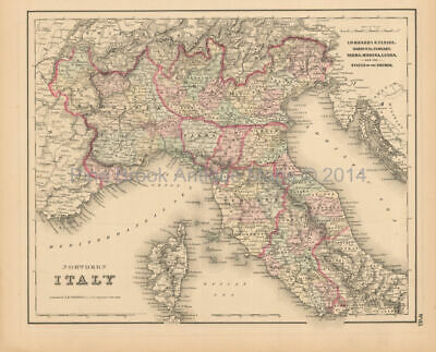 Northern Italy Antique Map Colton 1858 Original