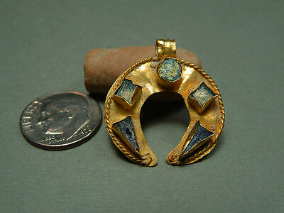 Ancient Gold Crescent / Glass Inlays Astrology Zodiac Roman Byzantine 200-400 Ad