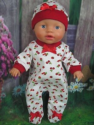 "Dolls clothes for 13"" Little Baby Born Doll~RED CHERRY/STRAWBERRY JUMPSUIT~HAT"