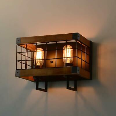 Anmytek Edison Wall Sconce Two-Bulbs Lighting Fixtures Wood Lamp for Bathroom