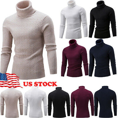 Winter Warm Mens Thermal Turtle Neck Turtleneck Sweaters Stretch Shirt Tops US
