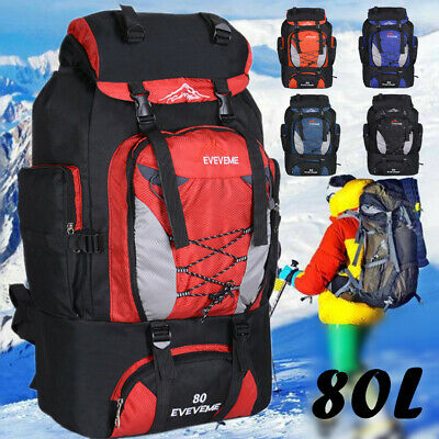80L Extra Large Nylon Sports Backpack Rucksack Outdoor Camping Hiking Bag UK