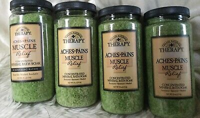 Village Naturals Aches+Pains Muscle Relief Concentrated Mineral Bath Soak Set 4