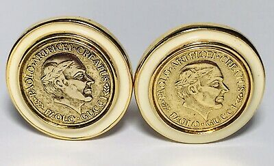 b669951e32d Vintage PAOLO GUCCI EARRINGS Roman GOLD Coin Button Signed CLIP ON Cream  Enamel