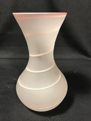 Vintage ITALIAN Pink Frosted Swirl ART GLASS Vase Hand Decorated made in Italy