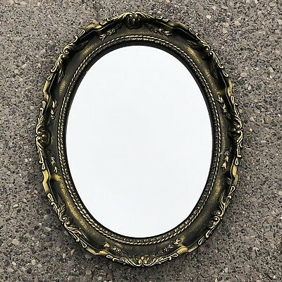 "Amerock Style Cast Metal Antique Brass Mid Century Vintage 19"" Wall Mirror"