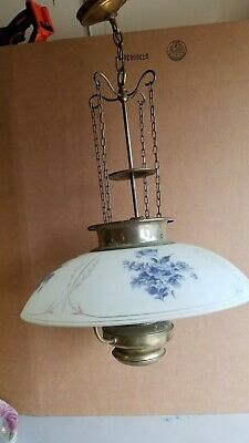 """Large Midcentury Hanging Brass Lamp W/ Reverse Painted 19"""" Glass Shade"""
