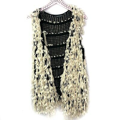 Atmosphere Cream Black Crochet Knit Fringe Vest Cardigan Sweater
