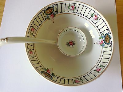 Hand Painted Nippon Footed  Soup Bowl And Spoon, Makers Mark
