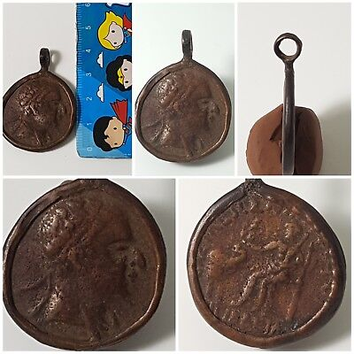 Bactrian old  coin antique bronze pendant