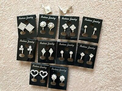 JOBLOT-10 pairs of different styles CLIP ON diamante earrings.Silver plated.