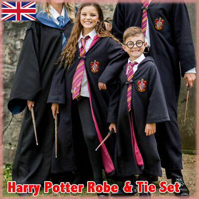 Harry Potter Gryffindor Robe Cape Slytherin Cosplay Costume Dress Adult Kids