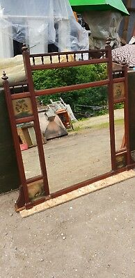 Edwardian over mantel mirror shelf wall display mahogany fireplace mirror hall