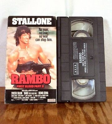 Rambo First Blood Part II Stallone VHS Movie Tape Action Avid 1988