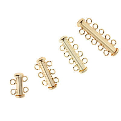 925 Sterling Silver Gold Plated 2-5 Srand Sliding Tube Clasp Hook Connector
