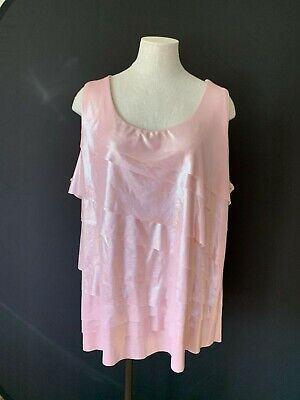 40012f0a547 NWT Avenue Clothing Plus Metallic pink Tiered Layer Tank Top Shirt 22 24