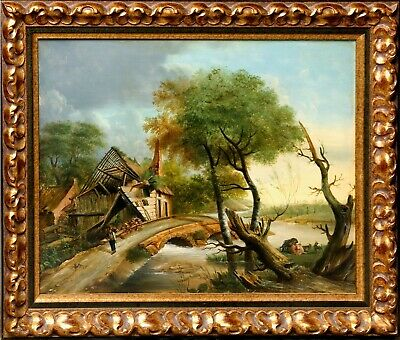 Northeuropean landscape with ruins. 17th-century style. Early 20 th century.