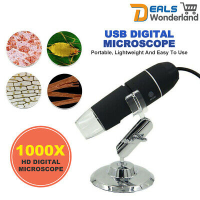 1000X HD USB Digital Microscope 8LED Endoscope Electronic Magnifier Video Camera