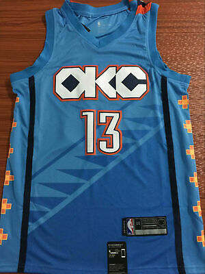 2720b7cfa35 NEW Oklahoma City Thunder #13 Paul George Swingman Basketball Jersey Blue