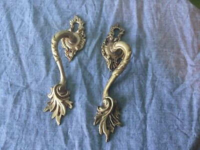 Good Pair Solid Brass Cabinet Handles with escutcheon