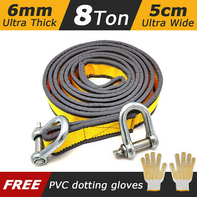 8T Heavy Duty Tow Rope Towing Pull Strap Road Recovery with Shackles With Gloves
