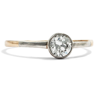 Um 1910: 585 Gold & Platin RING, 0,45 ct Diamant Solitär, antiker Verlobungsring