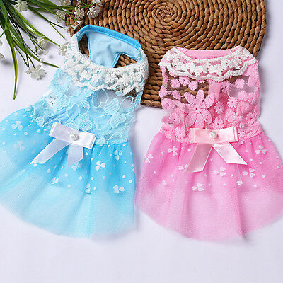1x Small Dog Princess Dress Spring Summer Pet Puppy Clothes Skirt for tedd Dh