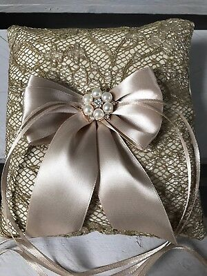 Champagne LACE Wedding Ring Cushion Bearer Pillow Sparkly Pearl Diamanté GLAM