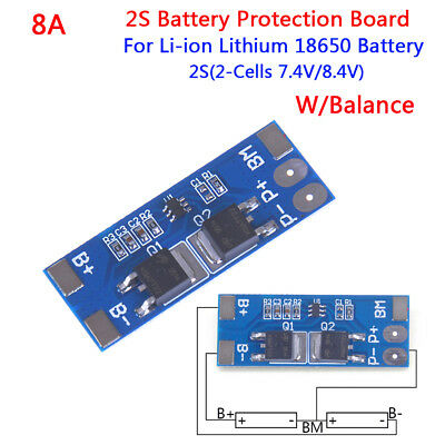 2S 8A 7.4V w/ Balance 18650 Li-ion lithium battery BMS charger protection boa Dh