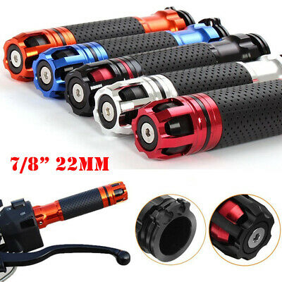 "2x 7/8"" 22mm Aluminum Rubber Handlebar Hand Grip Bar End For Motorcycle Bike New"