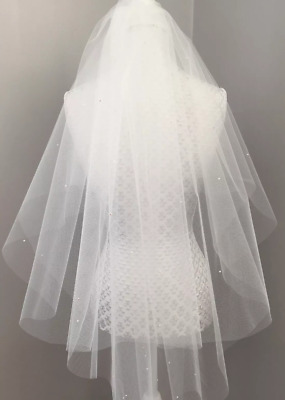 White or Ivory Bridal Wedding Veil Tulle Pearls Swarovski Diamante Elbow Length