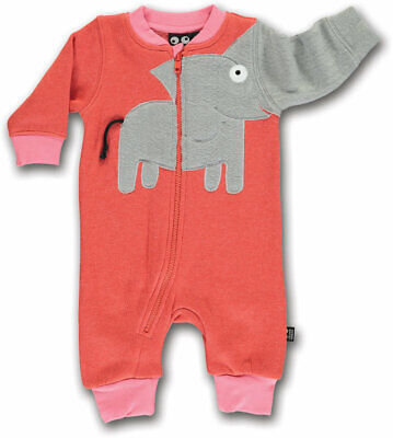 UBANG Overall Einteiler Onesie Playsuit Elefant orange rosa 62 68 74 80 86 92
