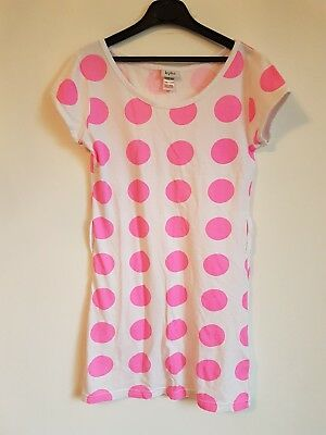 Girls Kylie Dress White With Pink Spots Age 11/12 Years  <S3599