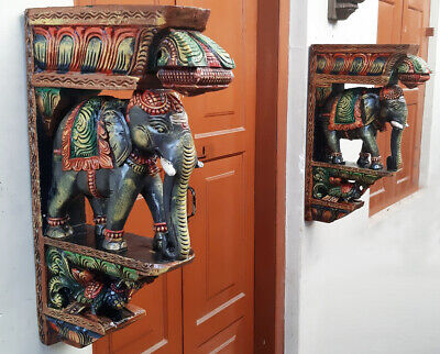 "Elephant Peacock Wall Bracket 24"" Corbel Pair Painted Wooden Sculpture Statue US"