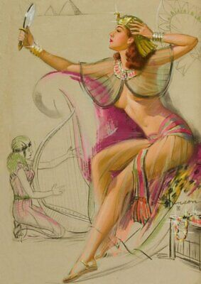 Knute Munson Red Haired Pinup Egyptian Vintage Art Print - A4 A3 A2 A1
