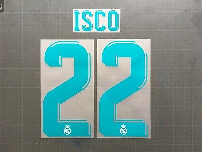 NUMBER NUMERO SHORT REAL MADRID HOME FLOCAGE TRANSFERT SPORTING ID 17-18