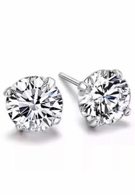 2Pcs Mens DIAMOND CUT CRYSTAL DIAMANTE Sterling Silver Clear Ear Studs Earrings