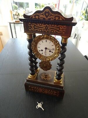Antique French Empire Ebony Twist Portico Gilt Mantel Clock (316)