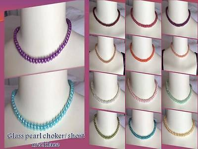 Buy4get1free VARIOUS COLOUR&LENGTH GLASS PEARL TEEN LADIES SHORT CHARM NECKLACE