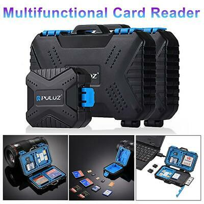PULUZ Card Reader+22 in 1 Waterproof Memory /SD Card Case Storage Box for 1Stand