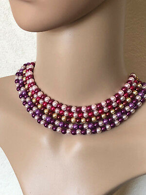 Mix Colour Glass Pearl Teen Ladies Beaded Choker Or Short Fashion Necklace