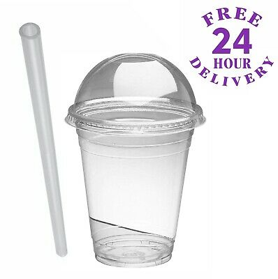 50 x 10oz Smoothie Cups with Domed Lids & Jumbo Straws Milkshakes Sweets Juice