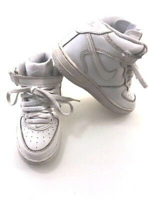 best service d8196 8a4c3 Nike Air Force 1 Mid Kids Boys Trainers Basketball Shoes 10.5 White Leather