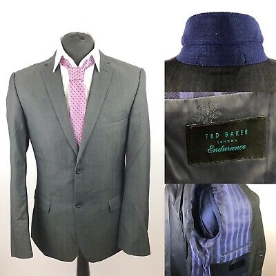 Ted Baker Endurance Mens 38R Grey Suit Jacket Wool Business Smart Office