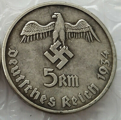 Free Coins! 1934 Hitler / Germany 5 Reichsmark Exonumia Coin #27