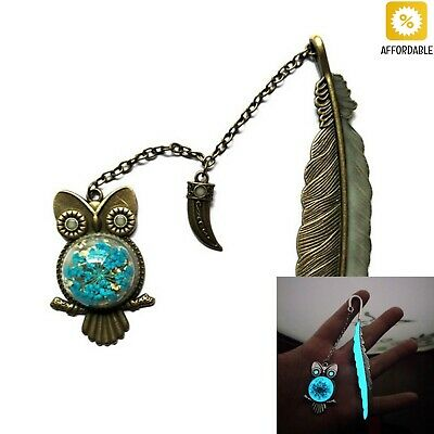 Glow In The Dark Bookmarks Owl Feather Bookmarks Luminous Label Read Marker Cute