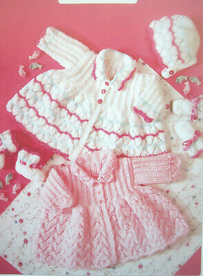 Baby Girls MATINEE CARDIGAN COAT BONNET KNITTING PATTERN DK Prem - 6m 14 - 18in