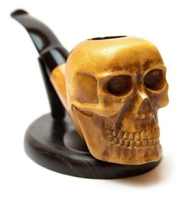 Pipe For Smoking Tobacco Handcarved Skull Pirate Wooden Personalized Gift Smoker
