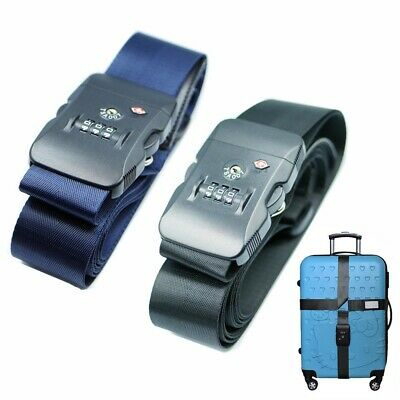 TSA Travel Luggage Strap with 3 Dial Approved Lock Adjustable Cross Belt